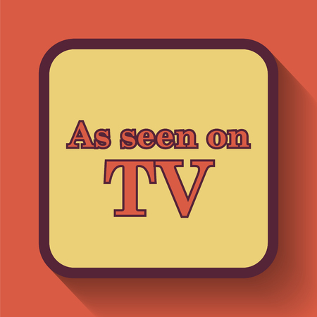 cliche: As seen on TV icon, colored website button on orange background.