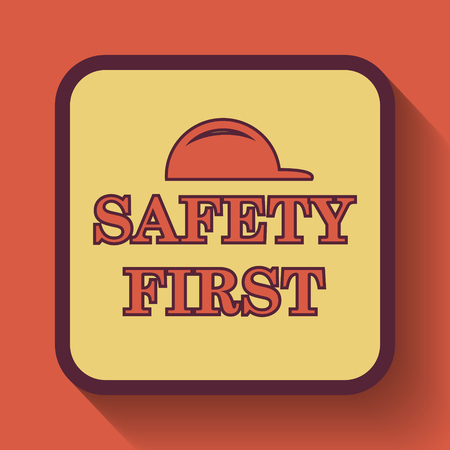 cautionary: Safety first icon, colored website button on orange background. Stock Photo