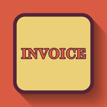 accounts payable: Invoice icon, colored website button on orange background. Stock Photo