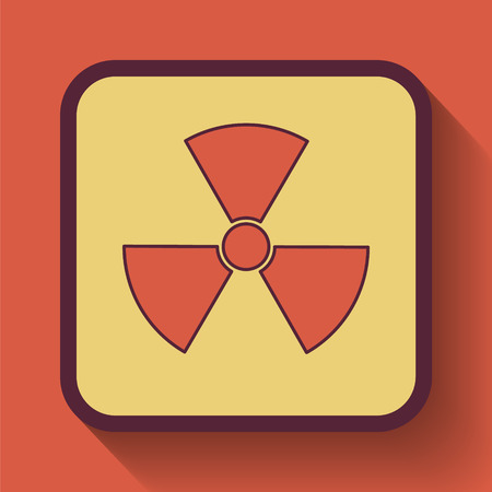caution chemistry: Radiation icon, colored website button on orange background. Stock Photo