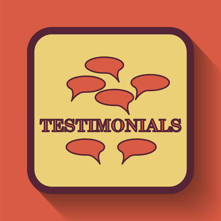 Testimonials icon, colored website button on orange background. Фото со стока