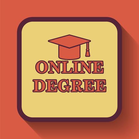 online degree: Online degree icon, colored website button on orange background.