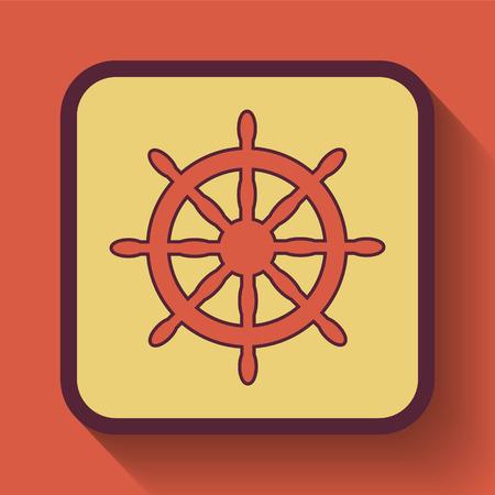 piloting: Nautical wheel icon, colored website button on orange background.