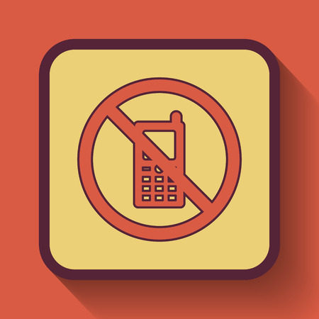use regulation: Mobile phone restricted icon, colored website button on orange background.