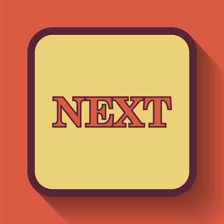 background next: Next icon, colored website button on orange background.