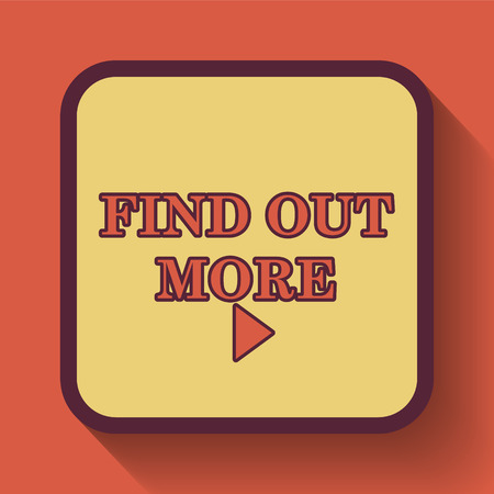 find out: Find out more icon, colored website button on orange background. Stock Photo