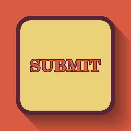 submitting: Submit icon, colored website button on orange background. Stock Photo