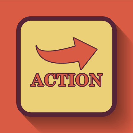 activism: Action icon, colored website button on orange background. Stock Photo