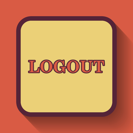 logout: Logout icon, colored website button on orange background.