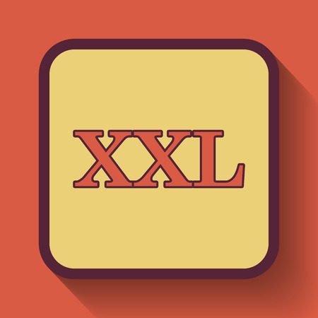 specification: XXL  icon, colored website button on orange background. Stock Photo