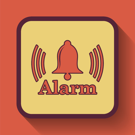 safe and sound: Alarm icon, colored website button on orange background. Stock Photo
