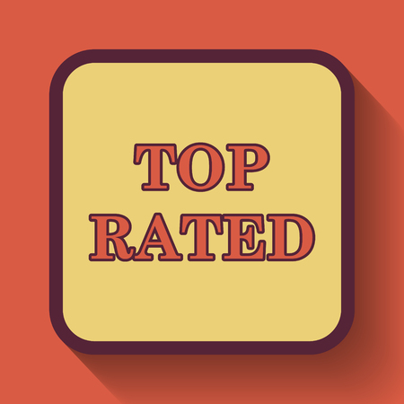 rated: Top rated  icon, colored website button on orange background.
