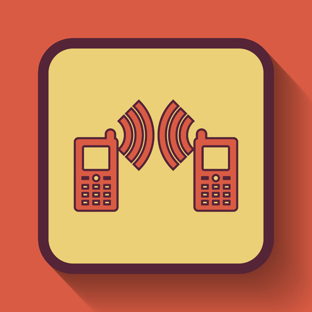 palmtop: Communication icon, colored website button on orange background. Stock Photo