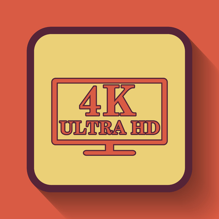 hdtv: 4K ultra HD icon, colored website button on orange background. Stock Photo