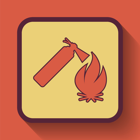 flammability: Fire icon, colored website button on orange background.