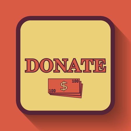 aiding: Donate icon, colored website button on orange background. Stock Photo