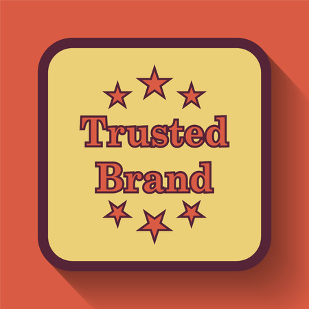 trusted: Trusted brand icon, colored website button on orange background.