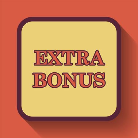 Extra bonus icon, colored website button on orange background. Stock Photo