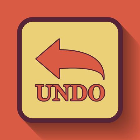 undo: Undo icon, colored website button on orange background.