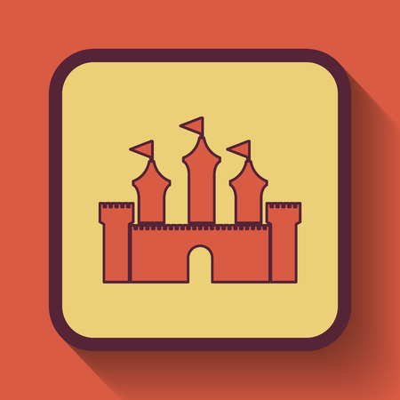 royal house: Castle icon, colored website button on orange background.