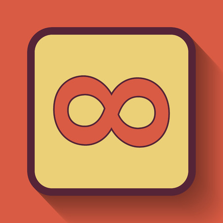 Infinity sign icon, colored website button on orange background.