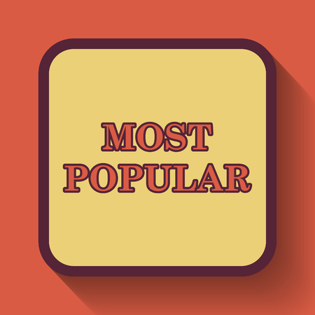 most popular: Most popular icon, colored website button on orange background.