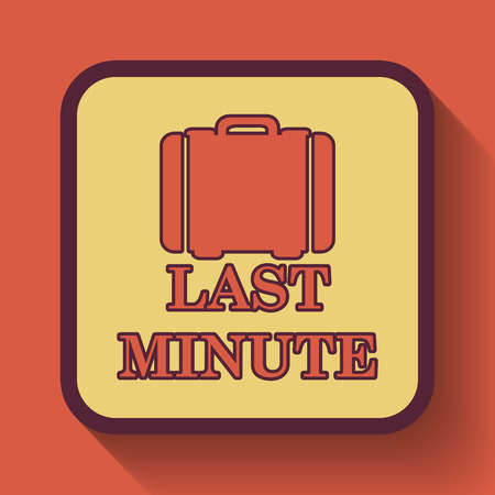 depart: Last minute icon, colored website button on orange background.