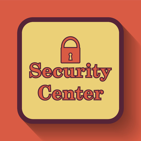 Security center icon, colored website button on orange background. Stock Photo