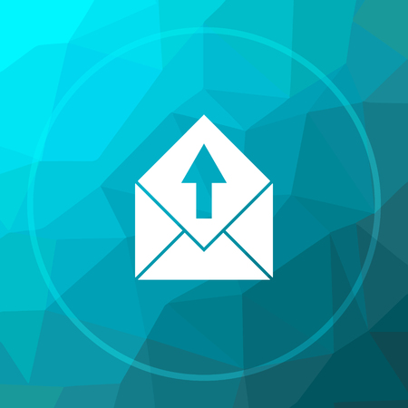 blue send: Send e-mail icon. Send e-mail website button on blue low poly background. Stock Photo