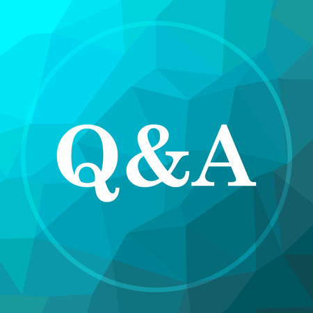 Q&A icon. Q&A website button on blue low poly background.