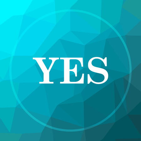 proceed: Yes icon. Yes website button on blue low poly background.