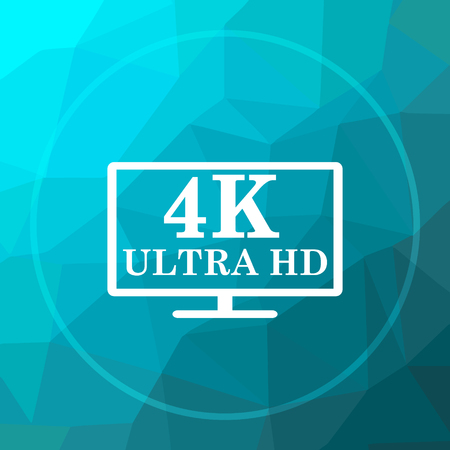 full hd icon full hd website button on low poly background stock
