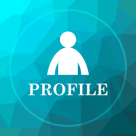 profile: Profile icon. Profile website button on blue low poly background. Stock Photo