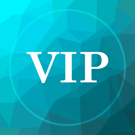 members only: VIP icon. VIP website button on blue low poly background.