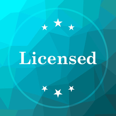 Licensed icon. Licensed website button on blue low poly background.