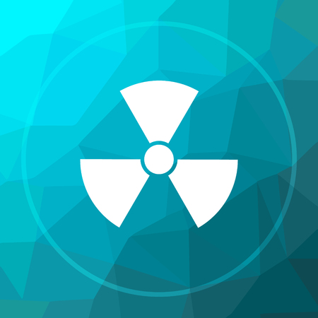 radioactive warning symbol: Radiation icon. Radiation website button on blue low poly background. Stock Photo
