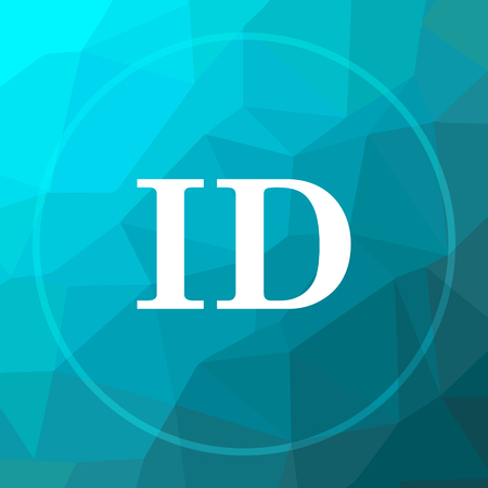ID icon. ID website button on blue low poly background.