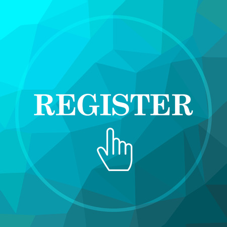 fill up: Register icon. Register website button on blue low poly background. Stock Photo