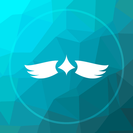 Wings icon. Wings website button on blue low poly background.