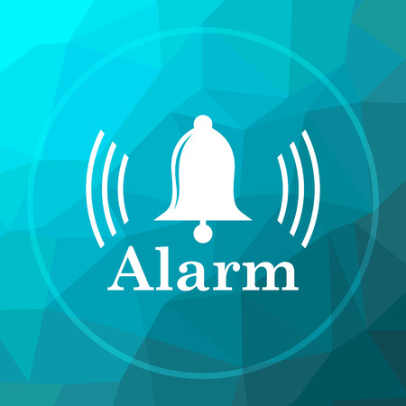 Alarm icon. Alarm website button on blue low poly background.