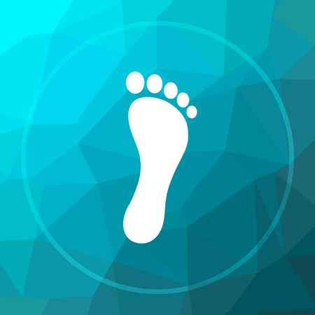 Foot print icon. Foot print website button on blue low poly background.
