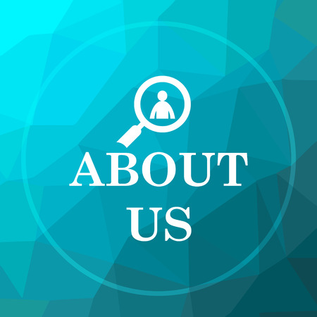 about us: About us icon. About us website button on blue low poly background. Stock Photo