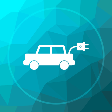 Electric car icon. Electric car website button on blue low poly background. Stock Photo