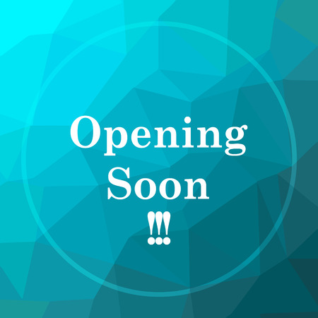 Opening soon icon. Opening soon website button on blue low poly background.