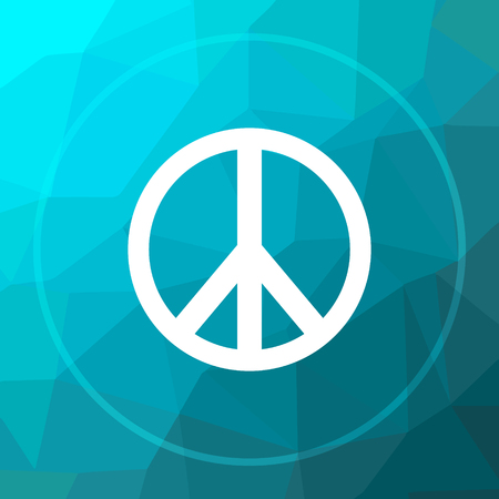 in low spirits: Peace icon. Peace website button on blue low poly background.