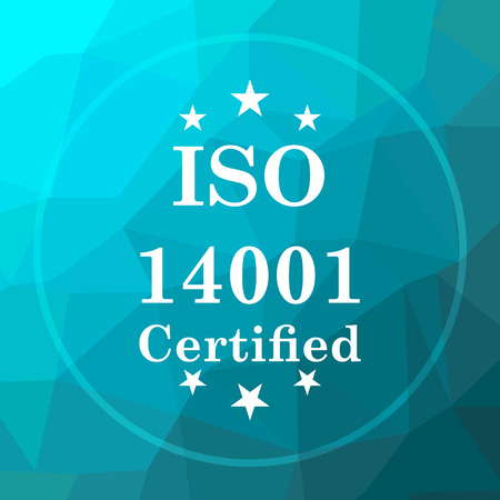 certificated: ISO14001 icon. ISO14001 website button on blue low poly background.