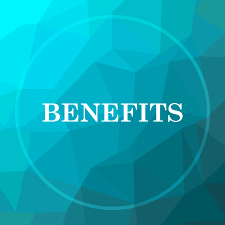 Benefits icon. Benefits website button on blue low poly background. Stock Photo