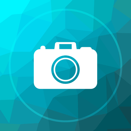 Photo camera icon. Photo camera website button on blue low poly background.