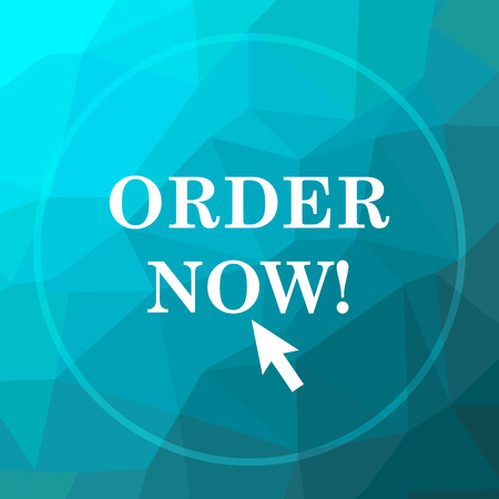 Order now icon. Order now website button on blue low poly background. Stock Photo