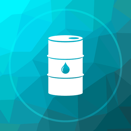 barrell: Oil barrel icon. Oil barrel website button on blue low poly background.